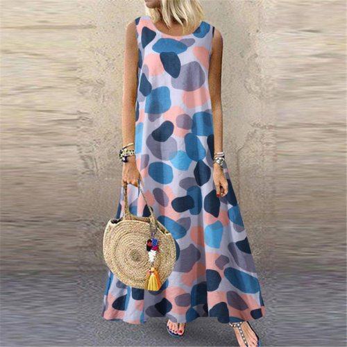 Women Dresses Bohemian Beach Dress Big Size 5XL Summer Sleeveless Vintage Floral Printed Long Dress 2020 New Vestidos Plus Size