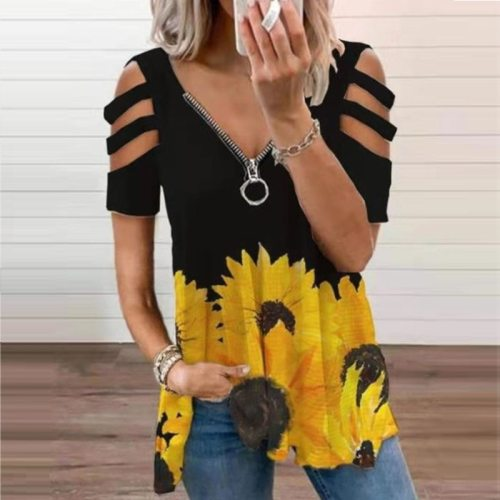 2021 Spring Summer Fashion V-Neck Zipper Blouses Shirts Women Elegant Solid Hollow Out Pullover Tops Ladies Casual Loose Blusa