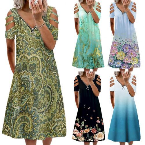 Hot Sales Women Dress Flower Print Loose Summer Short Sleeve V Neck Dress for Dating