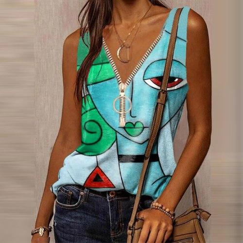 5xl Tshirts Patchwork Tops For Women Summer Women Clothing Zipper Tshirts Aesthetic Art Top Women Party Tshirts Et Chemises
