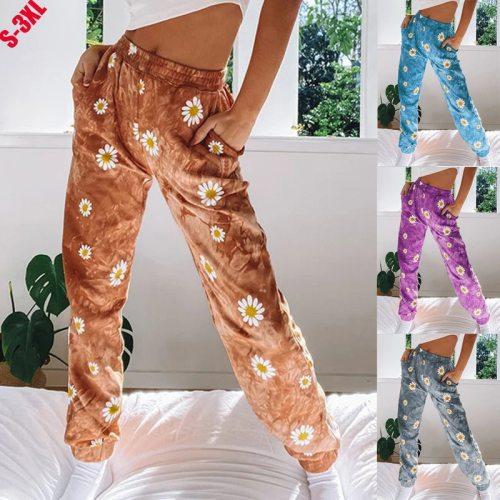 Fashion Small Chrysanthemum Tie-Dye Printing Women Casual Pants Street Hipster Boho Mid- Waist Women Trousers Casual Beach Pants