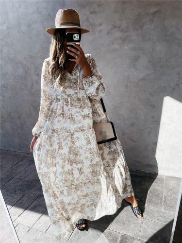 Loose Dress for Plus Size V Neck Robe Boho Femme Summer Dress Women Boho Long Summer Cotton Linen Dress Women Polyester Print