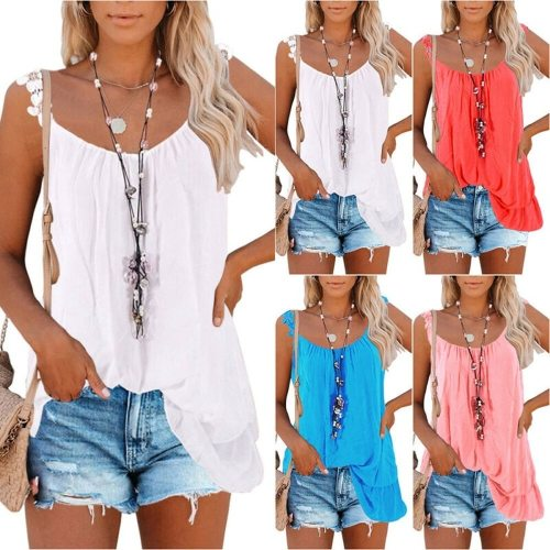 Women Summer Sleeveless Tank Top Lace Sling Plain Double Stitching Blouse Casual