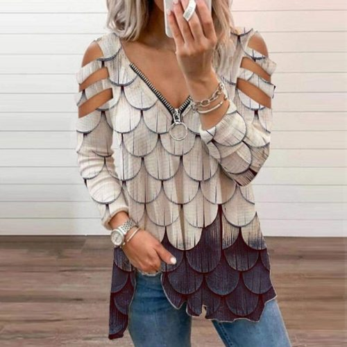 Fashion Hollow Out Women Blouses 2021 Summer Elegant Print V-Neck Zipper Pullover Tops Shirts Ladies Casual Plus Size Blusa