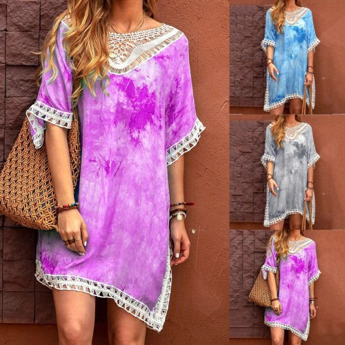 New 2021 top Spring Summer Wear Women Summer New Style Tie-Dye Hand Crochet Stitching V-neck Blouse Beach Dress robe платье