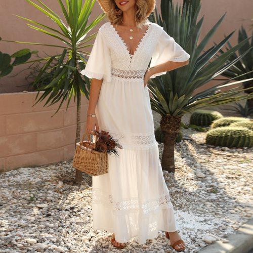 Casual Cotton Stitching Embroidery Maxi Dress Bohemian White Summer Short Sleeve Women Beach Dress Sexy V-neck Vestidos