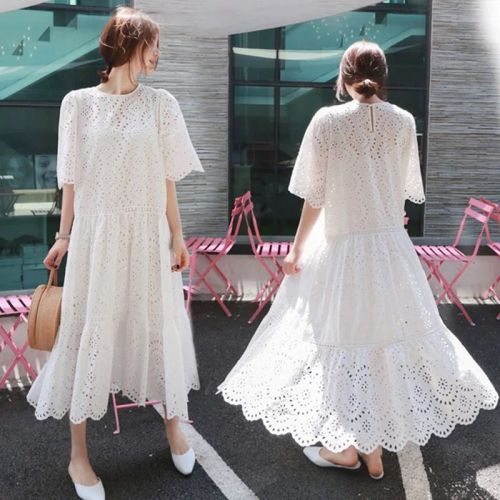 Pregnant Female Two-Piece Dress Suits Plus Size Hollow Out Cotton Dress With Strap Lining Maternity Clothes Twinset White Dresses