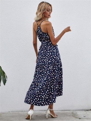 Women Summer Dress Boho Woman Linen Tunic Long Spaghetti Strap Sashes Lace Dot Polyester Loose Womens Clothing Dresses Summer