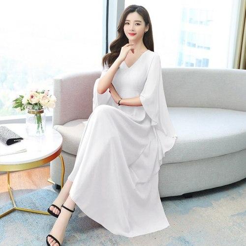 2021 Women Spring Summer Floral Print Dress Ladies Vintage A-Line Short Sleeve Vestidos Female Casual Loose Pleated White Dresses