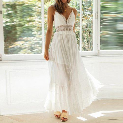 White Cotton Spaghetti Strap Maxi Dress Sexy Deep V-neck Backless Summer Women Beach Dress Casual Stitching Ruffle Dress