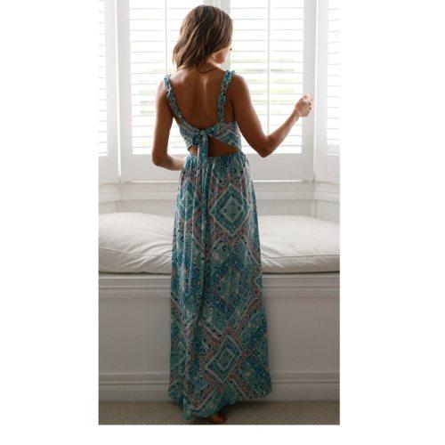 Women's Dresses Women's V-neck Sling Floral Long Beach Dresses Sundress Tie-up Waist Open-forked Printed Dress Summer Vestido