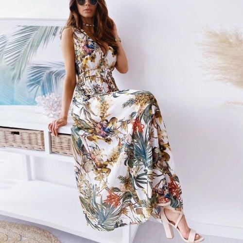Sleeveless Dress Women Maxi  Dress 2021 Sexy Deep V Neck Print Boho Dress Summer Vintage ong Dresses For Women Robe Femme