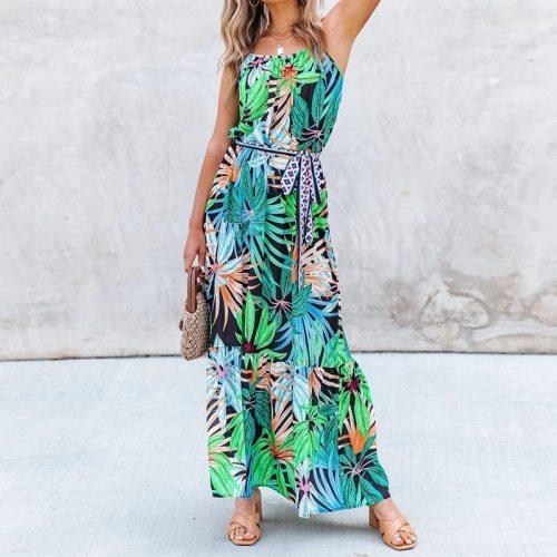 Women Long Dress Bohemian Spaghetti Strap Sleeveless Sashes Dresses Casual A Line Beach Style Female Vestidos Summer 2021 New