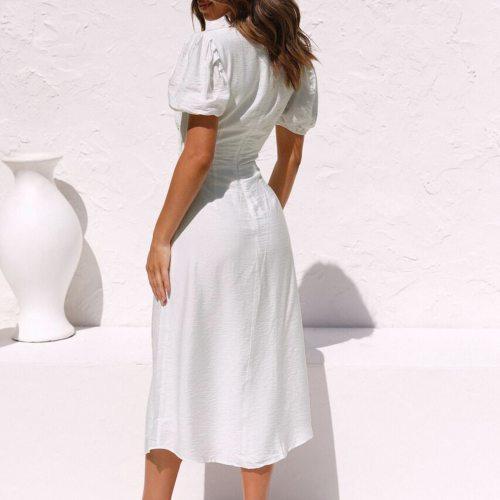 4# Irregular Split Boho Dress Women Summer Button Sexy Navel Short Sleeve V-neck Dress Beach Style Prairie Chic Dress Vestidos