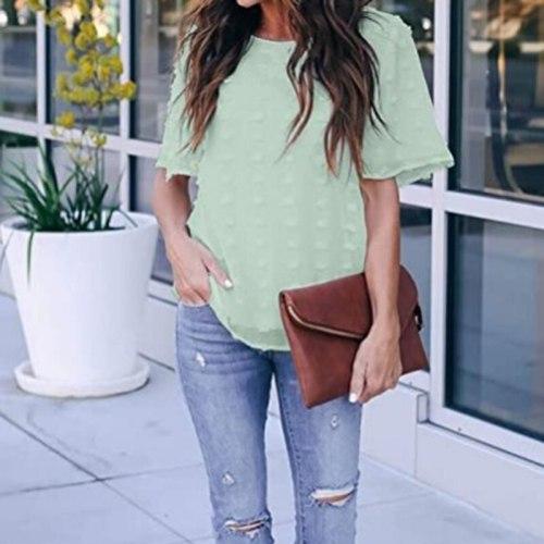 Casual Round Neck Summer T-shirts Short Sleeve Women T-Shirts Fashion Chiffon T Shirt Tops