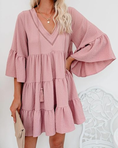 Women Loose Casual Dress New Style Lace-up Ruffles Solid Three Quarter Flare Sleeve Girls Dresses WL96