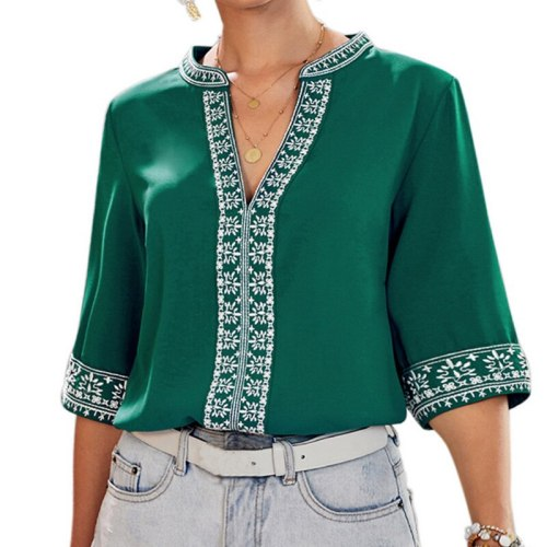 Retro Embroidery Chiffon Blouse Women 2021 Summer New Short Sleeves V-Neck Shirts Female Casual Loose Ethnic Style Tops Pullover
