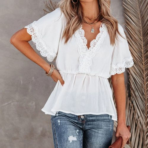 Summer Women Blouses Shirts Elegant Solid Lace Hollow Out Office Lady Top Sexy V-Neck Backless Lace-Up Casual Short Sleeve Tops
