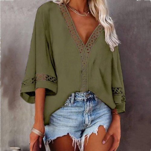Women's Blouse Summer White Tops Loose Flared Sleeves Blouses V-Neck Hollow Lace Stitching Shirt Female Blusas Mujer Plus Size