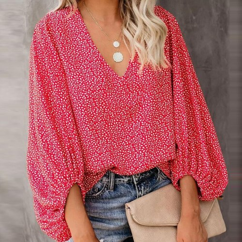 Oversize Loose Shirts Womens Blouses Long Sleeve Vintage Print Top Loose Female Tops Pullover Casual V Neck Spring Clothes Mujer