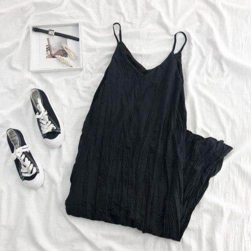 Sleeveless Dress Women College Fashion Elegant Design Ins Summer Classy Popular Temperament Aesthetic Teenagers Solid All-match