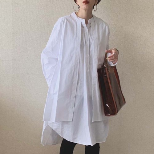 Korean Fashion Women Blouse 2021 Spring Summer Long Sleeve Fake Two Piece Patchwork Pullover Loose White Shirts Female Tops