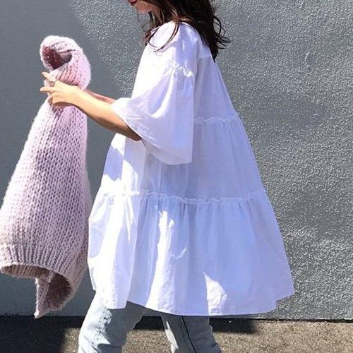 Loos Plain Women Blouse Shirts Tops Summer Korean Janpan 2021 White  Casual Fashion  Pullover  Mid Length Blouses Tops Shirts