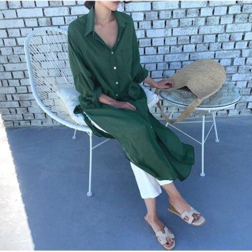 Korean Style  Office Lady Solid  Chiffon Dresses  Elegant Style female long dress  Vestidos Femme A455