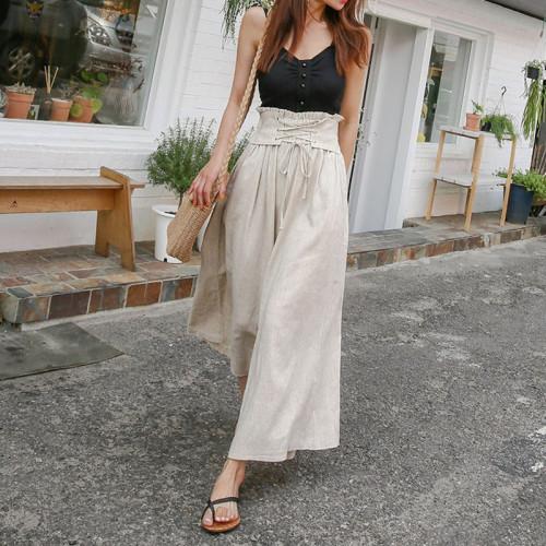 2021 Spring Summer Solid Fashion Casual Straps High Waist-length Loose Elastic Waist Wide Leg Pants Women