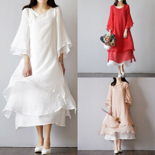 Women's Vintage Chinese classic dress loose solid color long sleeve dress Vintage Chinese classic spring and autumn robe dress