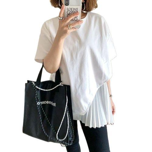 White shirt asymmetrical ruffles top t chic style korean streetwear casual loose irregular irregular female summer office tshirt