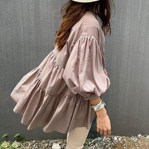 Japanese Fresh Ladies Blouse Loose Casual Street Wear Shirts Korean Style Solid Women Tops 2021 Fall Fashion Nine Points Sleeve