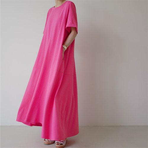 2021 Summer Fashion Loose T-shirt Dress Plus Size Short Sleeve Long Maxi Dress Bottoming A-LINE Dress Women