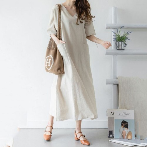 Women Maxi Dress Summer Casual Office Ladies Japan Style Cotton Linen Loose Shirt Dress Korean Daily Simple Solid Girl Dresses