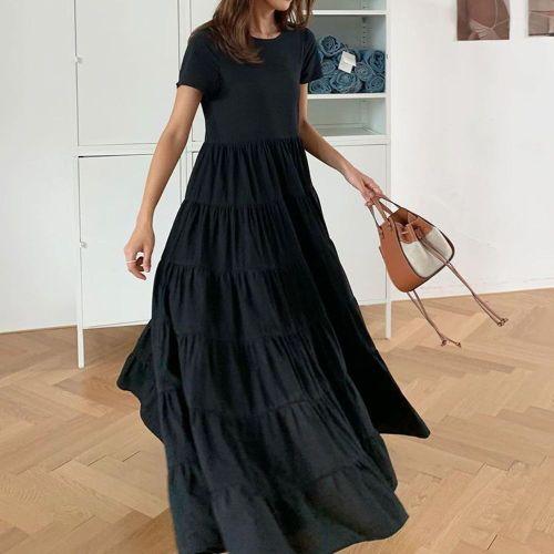 Long Ruffle Dress 2021 Summer New Korean Style Commuting Black High Waist Loose Maxi Dress Robe Women Clothing