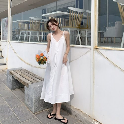 Summer Female Sexy Sling V-neck Halter Dress 2021 Solid Cotton Ruffles White Beach Long Dresses Casual Loose Sundress