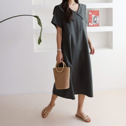 2021 Summer New Korean Simple Pure Color Dress Loose Thin Casual All-match Temperament Women Short-sleeved Dresses Robe