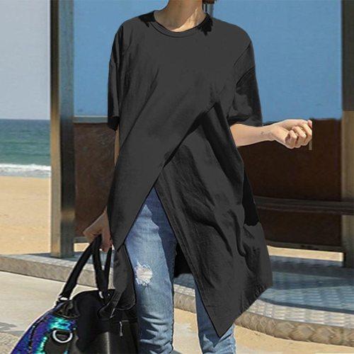 Summer Women Bohemian Long T-Shirt Korean Loose Split Hem Tops 2020 Casual Short Sleeve O-Neck Solid White T-Shirt