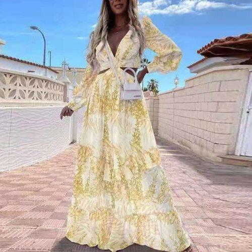 Sexy Criss-cross Hollow Out Boho Long Dress Women Deep V Neck Ruffle Party Dress 2021 Spring Summer Long Sleeve Maxi Beach Dress