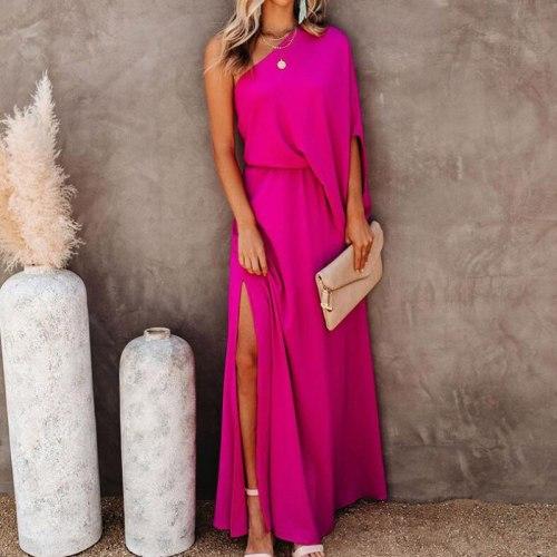 Elegant Women Solid Split Long Party Dresses 2021 Summer Casual Skew Collar Maxi Dress Fashion One Shoulder Loose Dress Vestidos