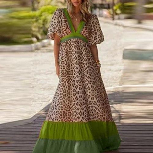 Summer Casual Leopard Print Loose Long Dress Sexy Deep V Neck Beach Party Dresses Elegant Women Short Sleeve Maxi Dress Vestidos