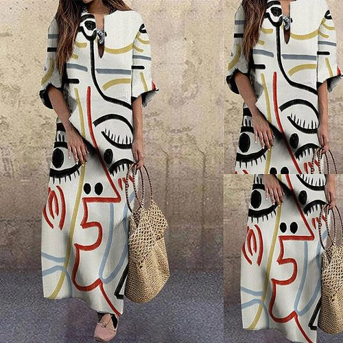 Elegant Vintage Portrait Print Dress Abstract Face Women Dresses Beach Party Spring Autumn 2020 Fashion Loose Female Chic Dress