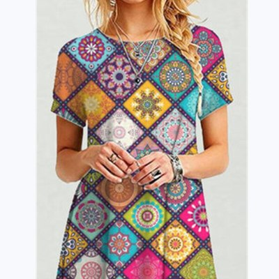 2021 Summer Casual Geometric Short Sleeve Woman Dress Plus Size O-Neck Rhombus Patchwork Loose Holiday Dresses