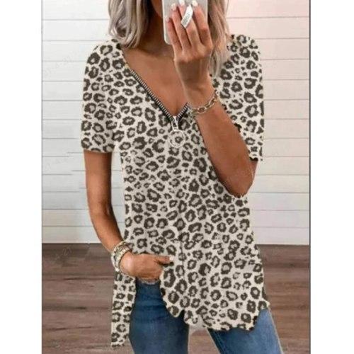 Leopard Tshirts Women Summer Fashion Short Sleeve Zipper V-neck Loose Large Size Casual Tees woman
