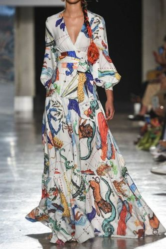 Women Dress Temperament Print Maxi Dresses Long Sleeve V Neck Bandage Ladies Dresses High Waist Large Hem Plus Size Dress