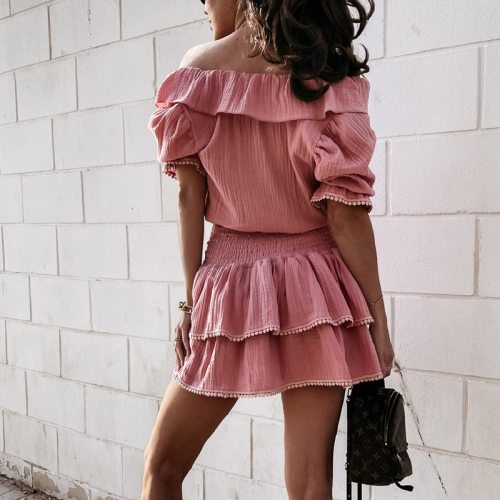 Summer V Neck Off Shoulder Mini Dress Elegant Ruffle Short Sleeve Party Dress Fashion Solid Elastic Waist Slim Dresses Vestidos
