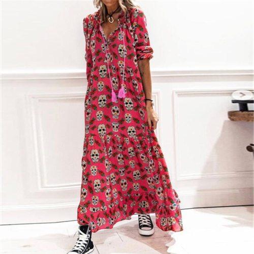Retro Skull Printed Women Party Dress Spring V Neck Long Sleeve A-Line Ladies Dress Summer Fashion Drawstring Tassel Loose Dress