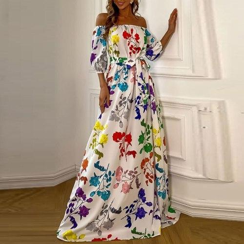 Spring Half Sleeve Tie-up Casual Dress New Summer Off Shoulder Loose Boho Maxi Dress Women Elegant Floral Print Long Party Dress