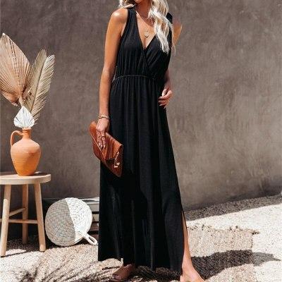 Sexy Elegant Women Dress 2021 Summer Casual Deep V-neck Spaghetti Straps Loose Maxi Dress