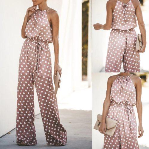 Oversized Elegant Hot Jumpsuit Women Fashion Streetwear Dot Loose Skinny Jump Suits for Women O-neck Backless Long Pant